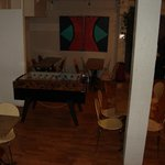 The downstairs rec room and breakfast area