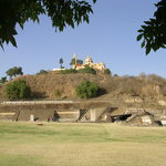 The many-layered pyramid in nearby Cholula finally one-upped by a church.