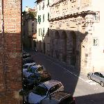 View from French doors of our room-no balcony for sitting but nice street views and quiet locati
