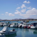 View over to mountains from Corralejo harbour