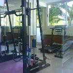 The gym by the indoor pool