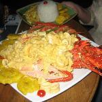 Fantastic spiny lobster dinner at the Karukena Bar in town