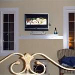 Flat screen TV (watching a DVD)