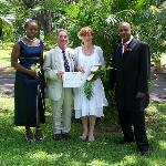 Harriet and Nigel, just after getting married in the Botanical Gardens, Roseau, Dominica