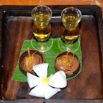 Served shots of drink's and small desert every night to your bure room at 8pm