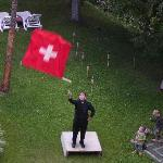 Flag throwing in the garden