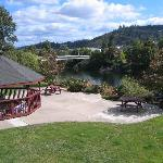 River view with hotel hot tub gazebo