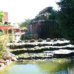 The waterfall at the pool