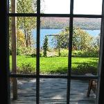 Looking out the door downstairs toward the lake