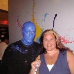 Me, the Blue Man, and my Swatch watch.