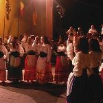 The folklore show during the nut festival in Motta Camastra