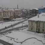Snowy view of the square from the room