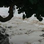 rocks on beach bared by storm