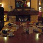 The dining room setup for breakfast