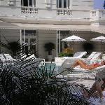 Daytime pool view at the Copacabana Palace.