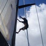 climbing up the mast