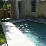 The sunny pool and braai area