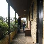 Walkway in front of the rooms