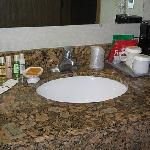 complimentary items and coffeemaker