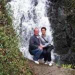 me and my son at waterfall