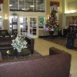 Hampton Inn lobby with breakfast area in background