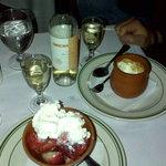 Ricotta ice cream and strawberries with cream