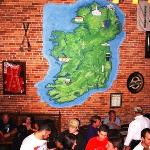 Map of Ireland in plaster on the brick wall