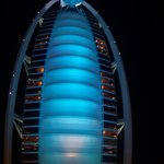 Blue! Change of color outside Burj Al Arab!