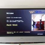 Welcome message on the room's TV
