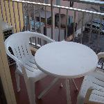 outdoor dining set on the balcony