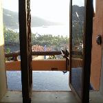 Taken from the shower overlooking the infinity pool and the bay