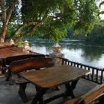 Outdoor restaurant next to river