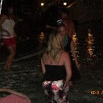 People dancing in the pool during the New Year`s bash