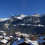 View across village and Dent du Midi from room balcony