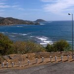Panoramic view of road leading up the hill to the hotel