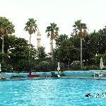 Pool Bin Majid Hotel mit Moschee im Hintergrund