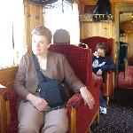 My sons and me on the Chocolate Train, with the complimentary drinks & croissant.