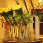 Beautiful flower arrangements throughout the hotel