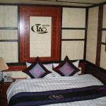 Bed in room of boat.
