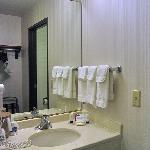 Ansicht des Waschbeckenbereichs (im Zimmer, aber nicht im Eingangsbereich)