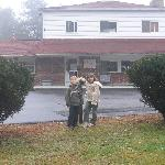 My kids in front of the Anchorage Inn in Rochester