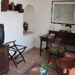 double room, 3rd floor, old building - close-up of writing area