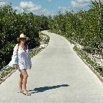 Beach is a 10 minute walk through mangrove from our villa...can catch a ride on golf carts as we