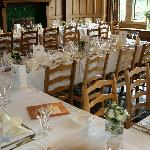Tables set up for wedding reception at the Cragwood