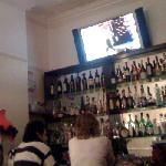 the small bar and TV featuring Russian pop concerts