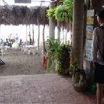 Enttering through cafe to beach