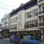 Seng Lao Hotel: an ex-cinema. We were on the top floor (new windows)