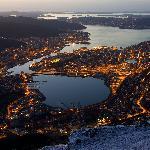 Night view from Mount Ulriken in Bergen