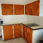 Kitchen/Living area - cupboards were a little worn