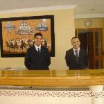 Hotel reception, Mohammed and Ibrahim